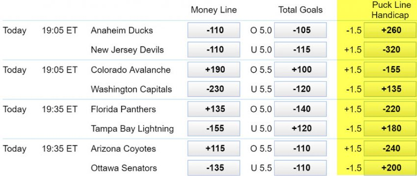nhl-puck-line-betting
