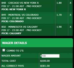 Proline Stadium hockey odds
