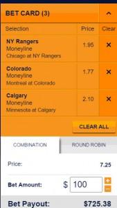 Sports Interaction hockey odds